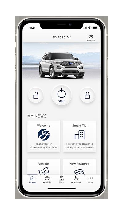 Pantalla del tablero de la aplicación FordPass