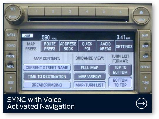 SYNC con Navegación Activada por Voz